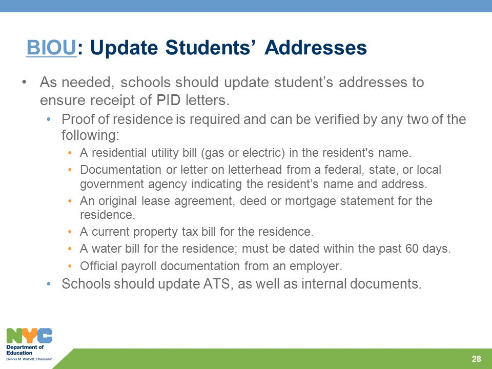 BIOU: Update Students' Addresses