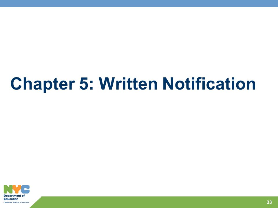 Chapter 5: Written Notification