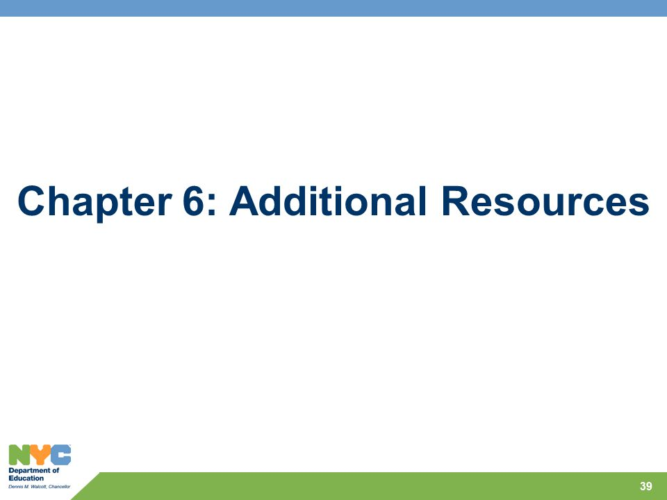 Chapter 6: Additional Resources