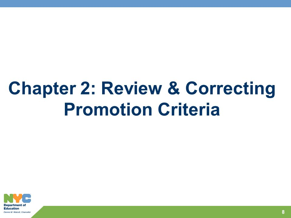 Chapter 2: Review & Correcting Promotion Criteria