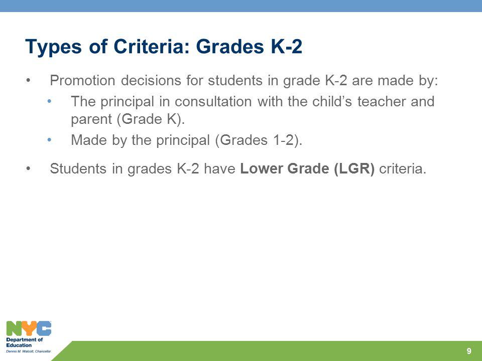 Types of Criteria: Grades K-2