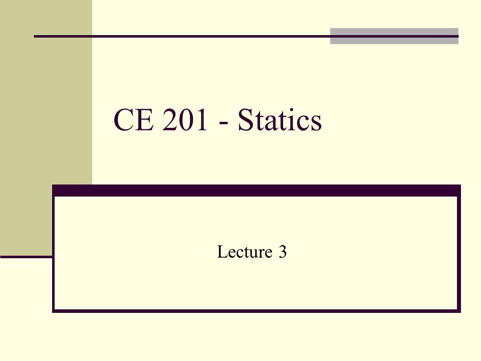 CE 201 - Statics Lecture 3