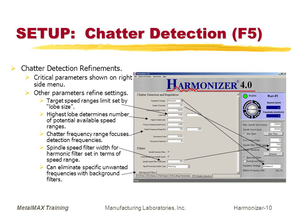 SETUP: Chatter Detection (F5)