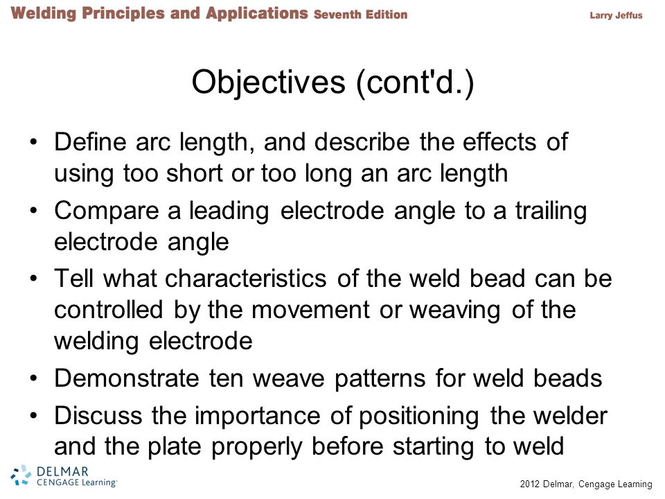 Objectives (cont d.) Define arc length, and describe the effects of using too short or too long an arc length.