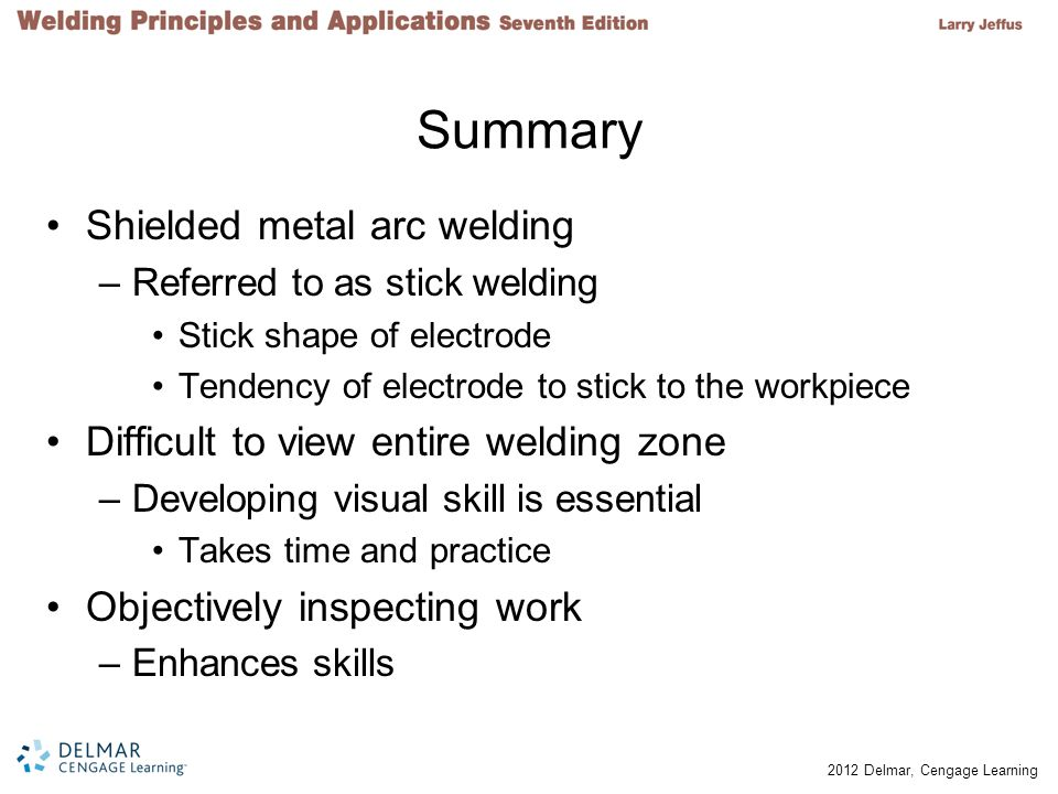 Summary Shielded metal arc welding