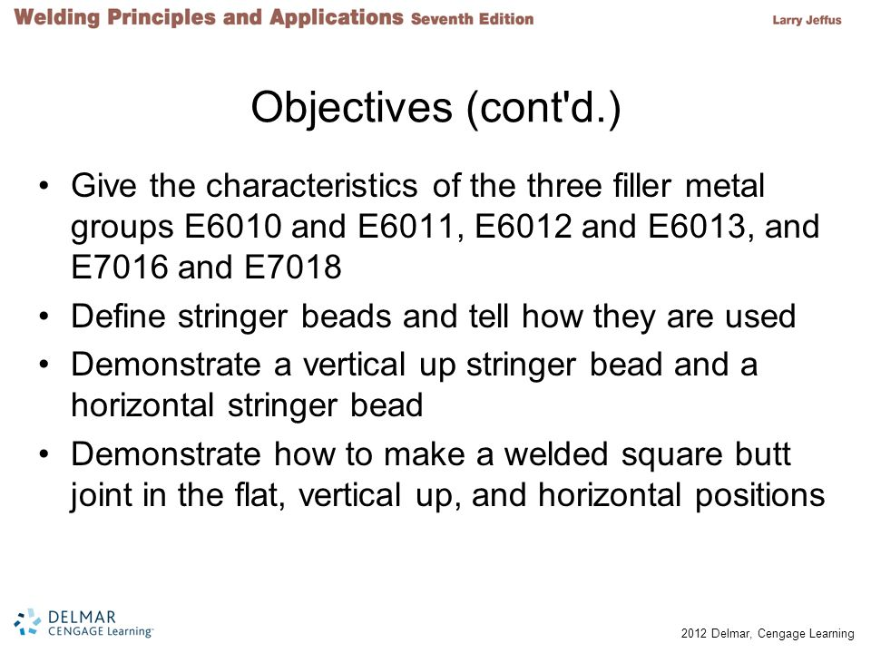 Objectives (cont d.) Give the characteristics of the three filler metal groups E6010 and E6011, E6012 and E6013, and E7016 and E7018.