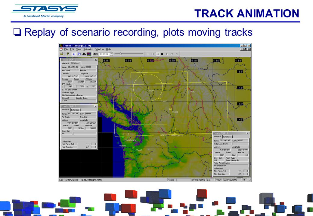 TRACK ANIMATION Replay of scenario recording, plots moving tracks