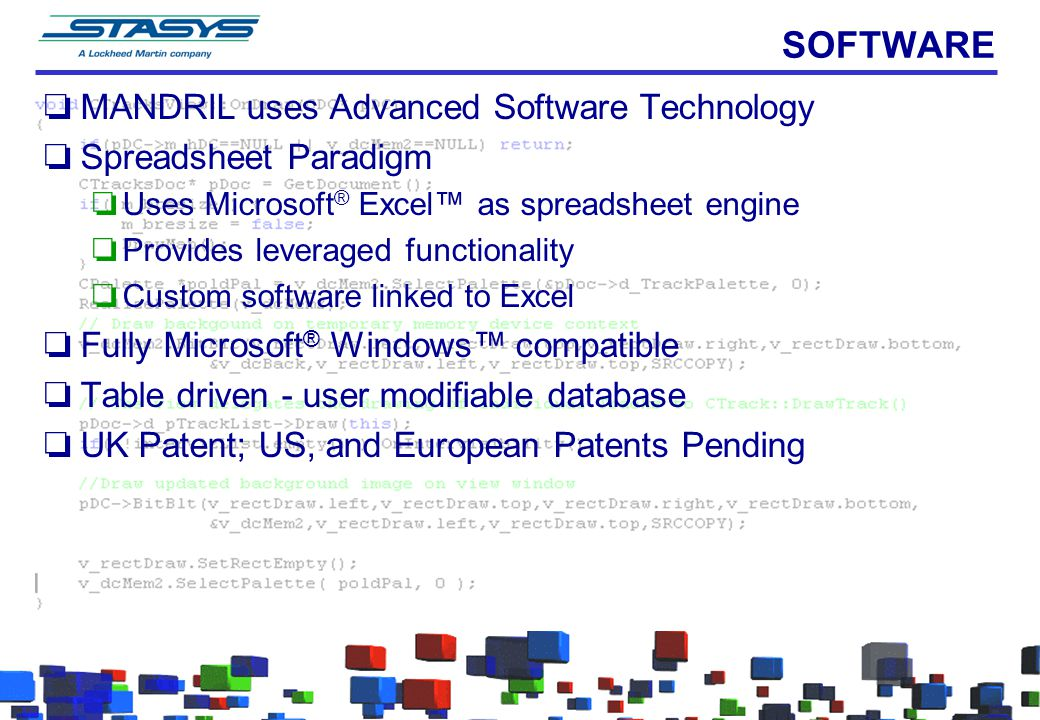 SOFTWARE MANDRIL uses Advanced Software Technology