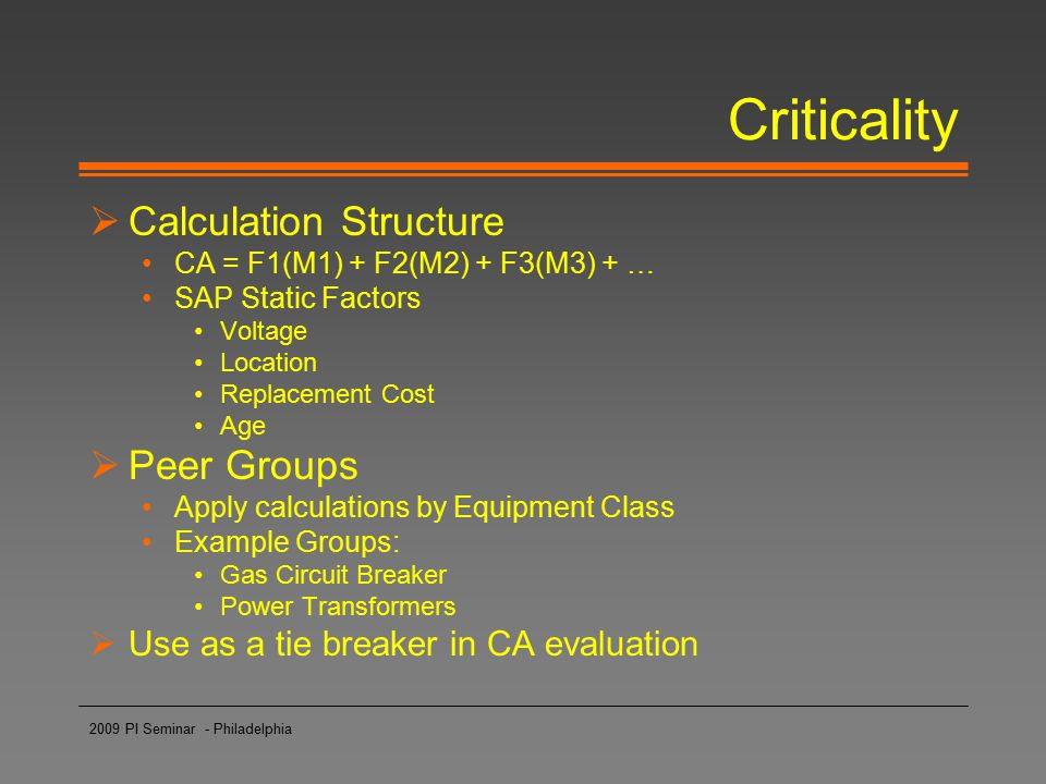 Criticality Calculation Structure Peer Groups