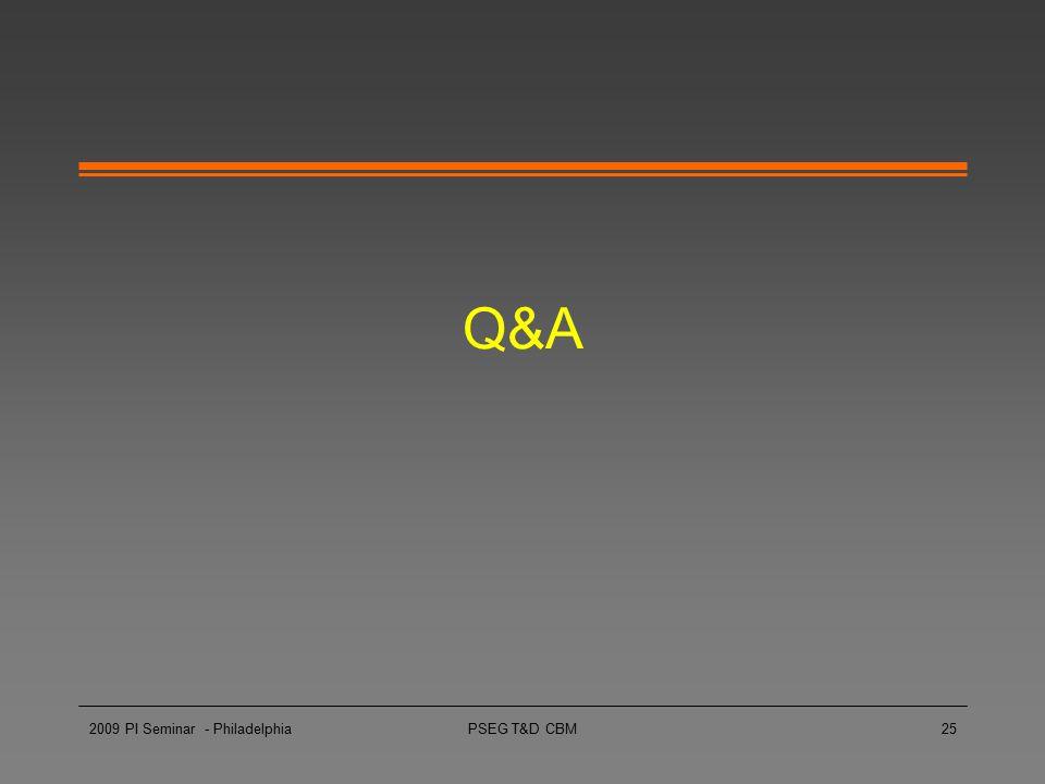 Q&A 2009 PI Seminar - Philadelphia PSEG T&D CBM