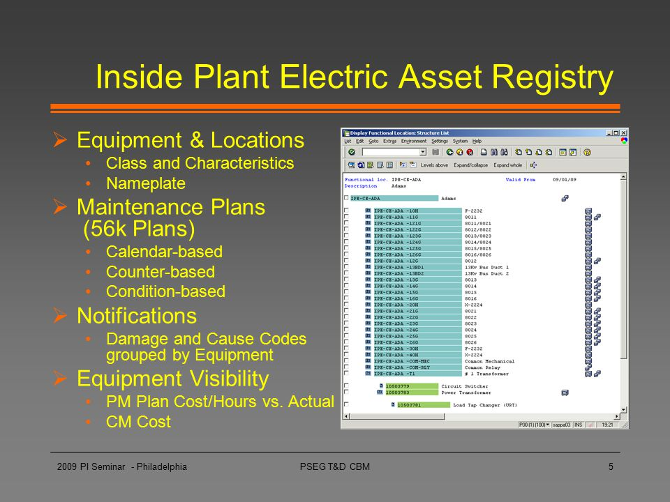 Inside Plant Electric Asset Registry
