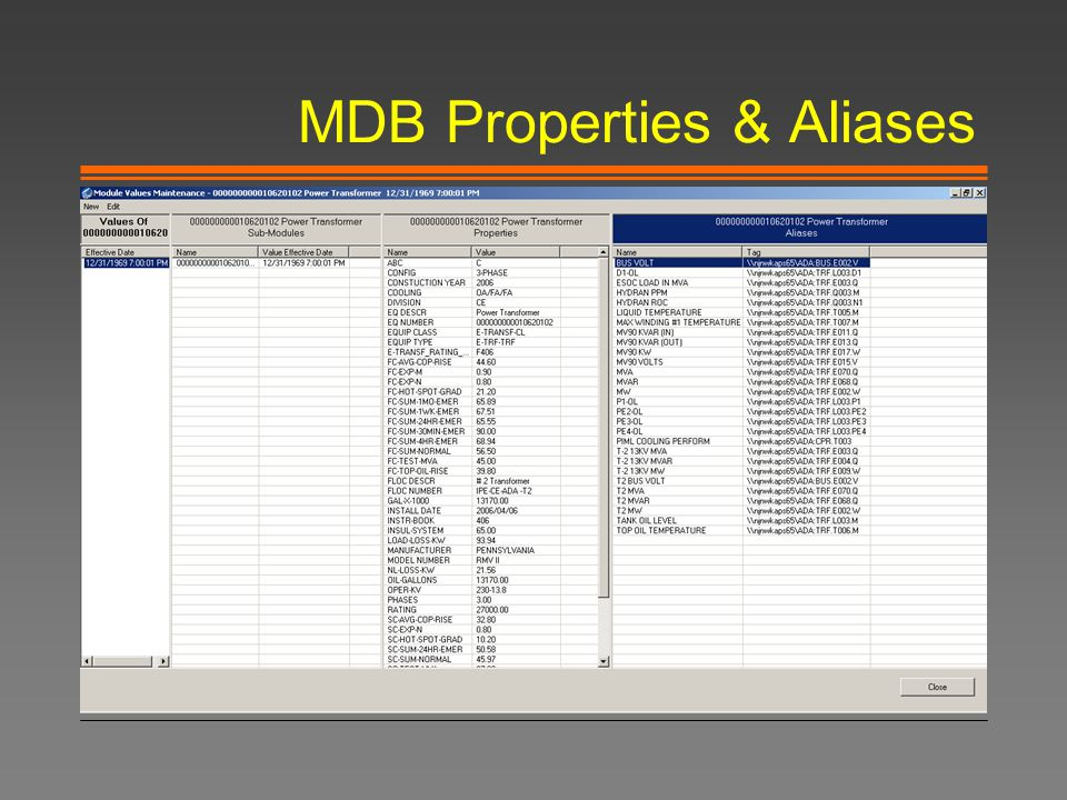 MDB Properties & Aliases