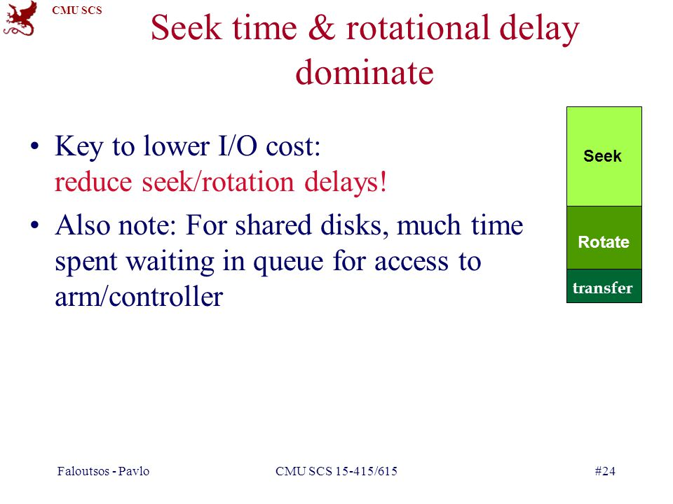 Seek time & rotational delay dominate