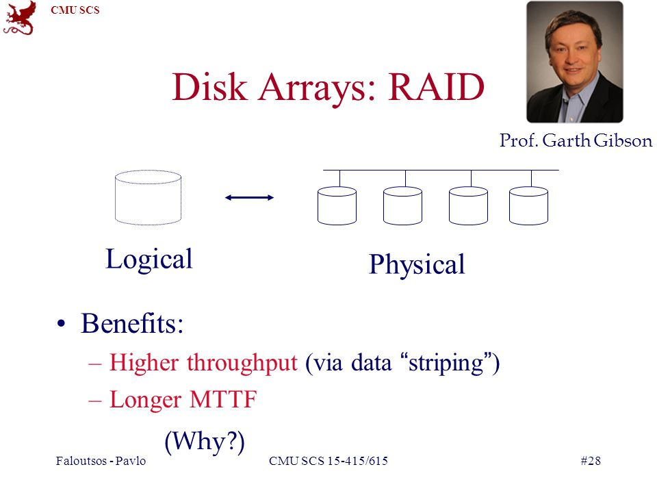 Disk Arrays: RAID Logical Physical Benefits: