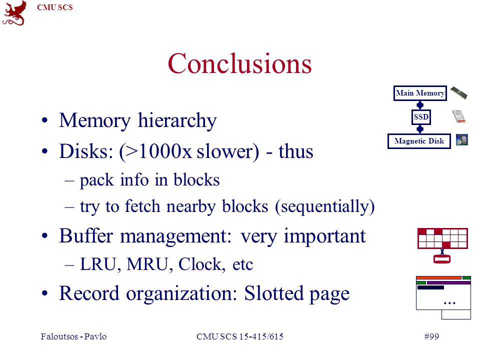Conclusions Memory hierarchy Disks: (>1000x slower) - thus