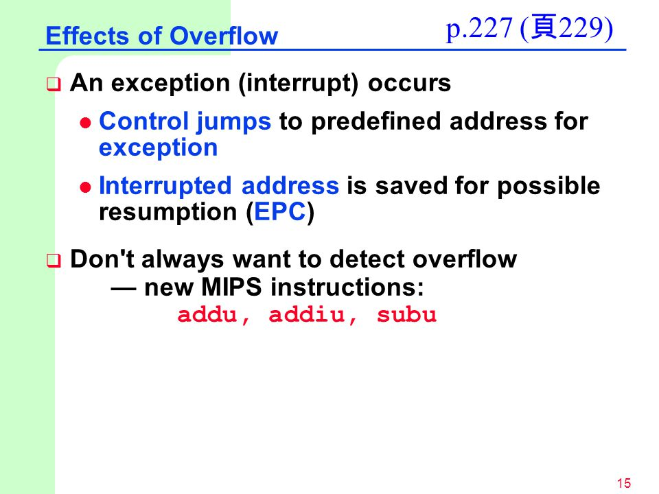 p.227 (頁229) Effects of Overflow An exception (interrupt) occurs