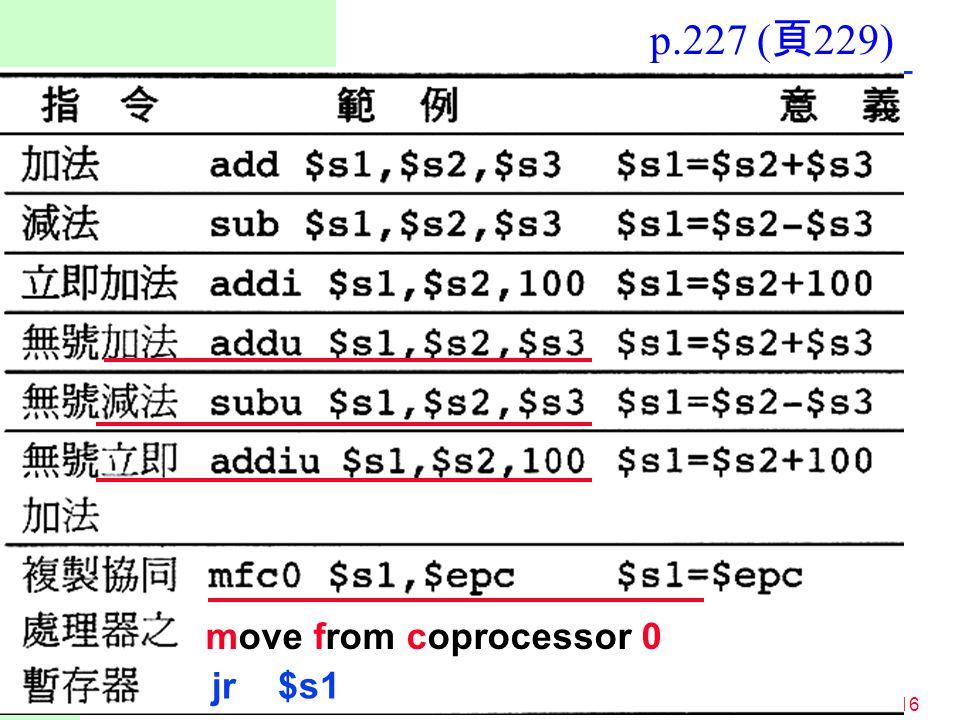 p.227 (頁229) move from coprocessor 0 jr $s1