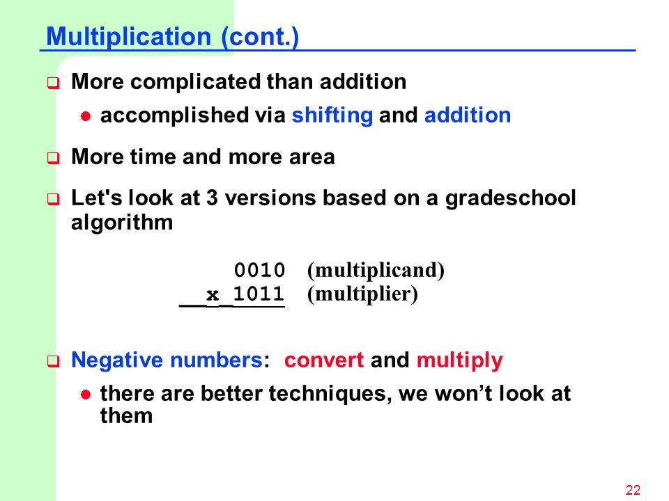 Multiplication (cont.)