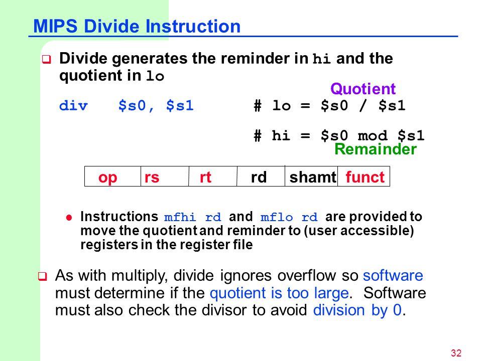 MIPS Divide Instruction