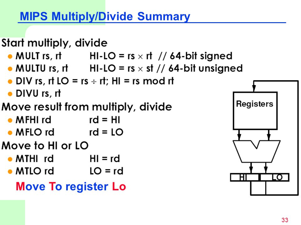 MIPS Multiply/Divide Summary