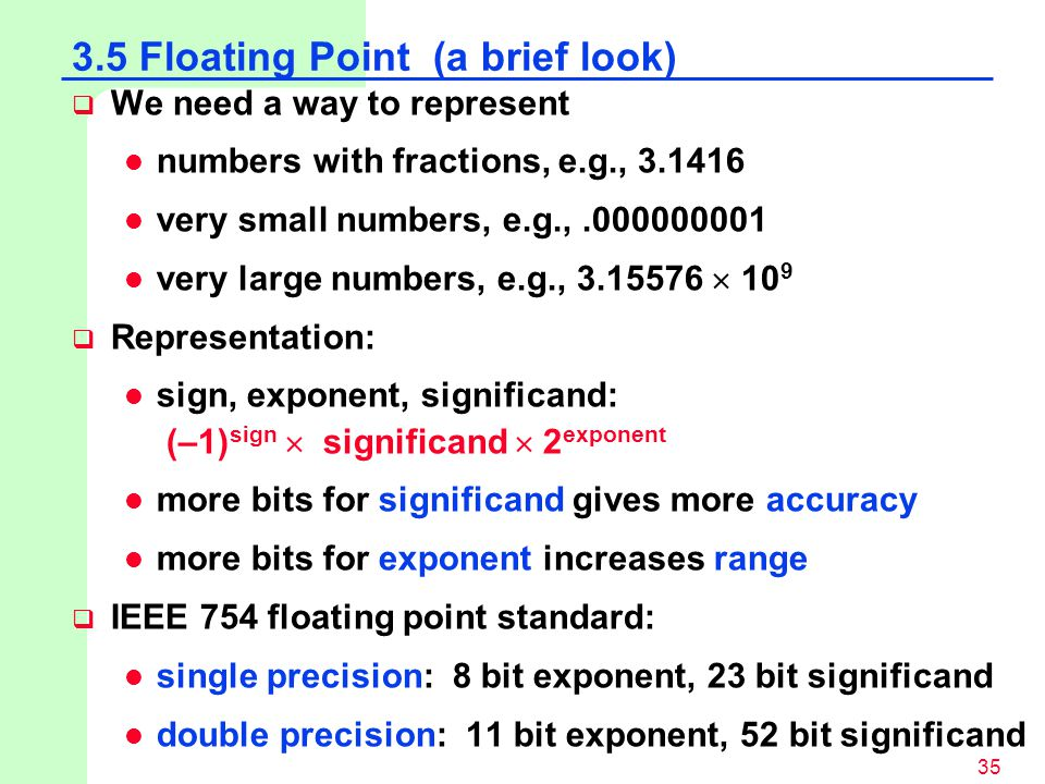3.5 Floating Point (a brief look)