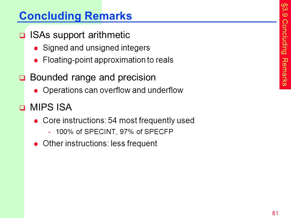 Concluding Remarks ISAs support arithmetic Bounded range and precision
