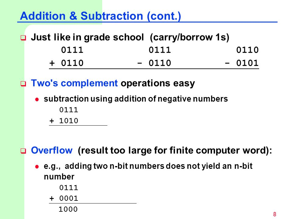 Addition & Subtraction (cont.)