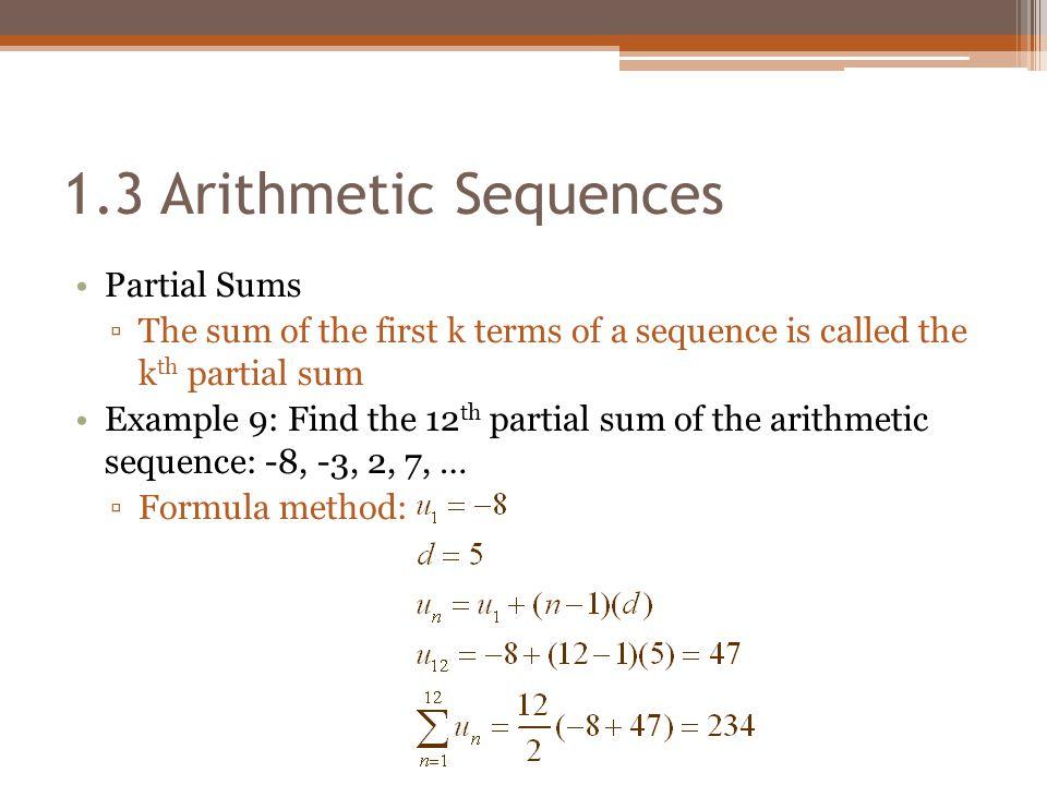 1.3 Arithmetic Sequences Partial Sums