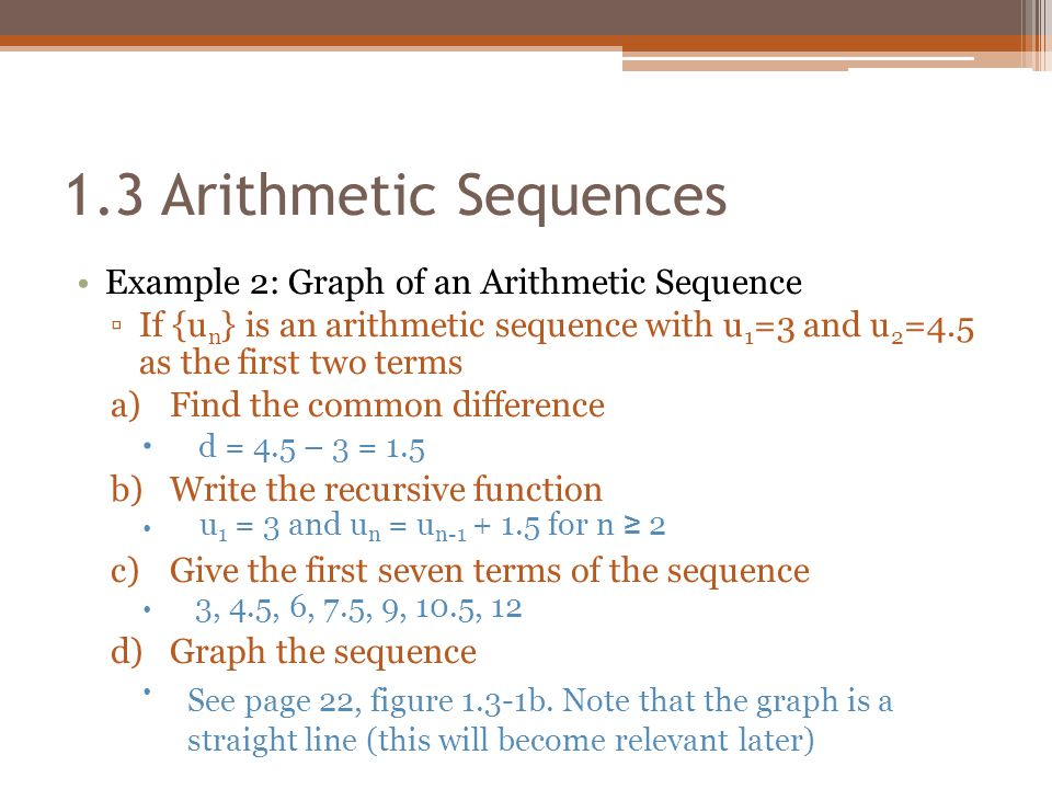 1.3 Arithmetic Sequences Example 2: Graph of an Arithmetic Sequence