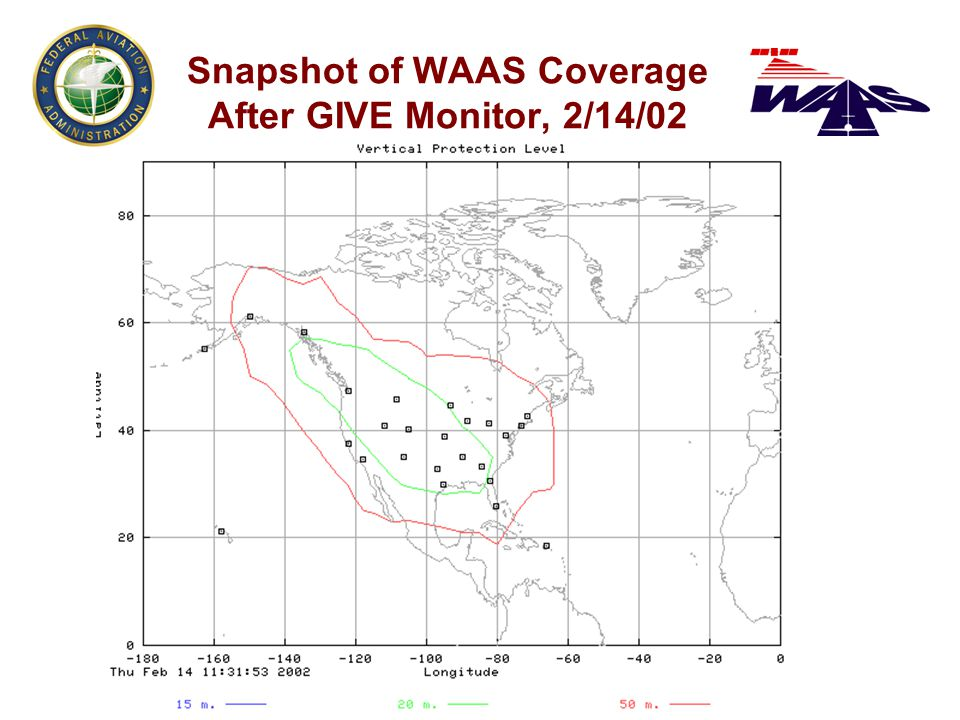 Snapshot of WAAS Coverage After GIVE Monitor, 2/14/02