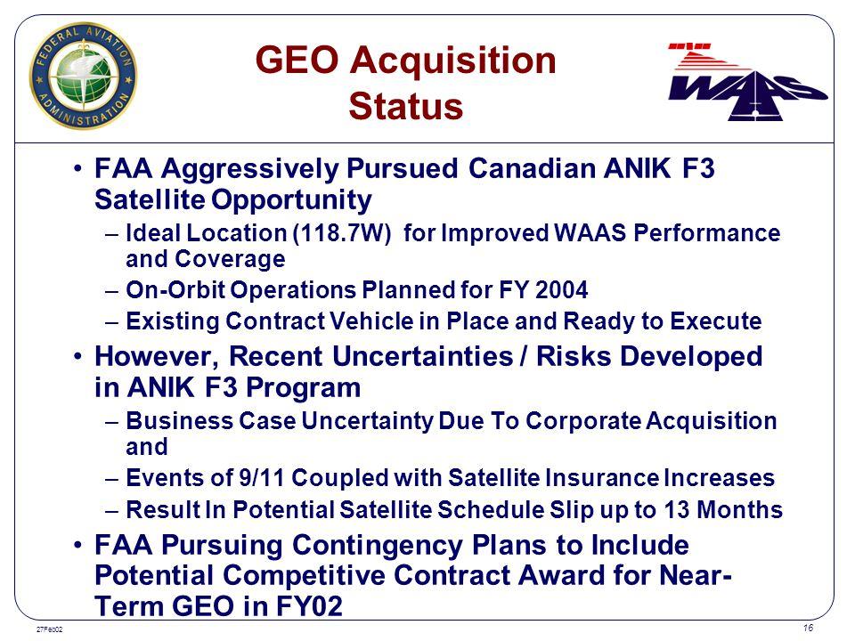 GEO Acquisition Status