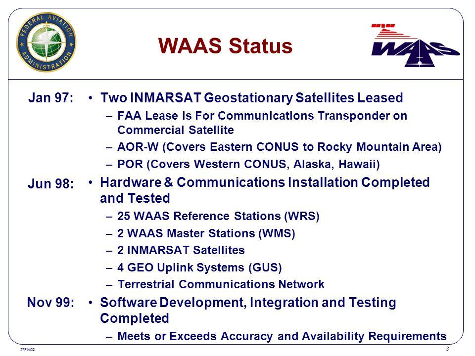 WAAS Status Jan 97: Two INMARSAT Geostationary Satellites Leased
