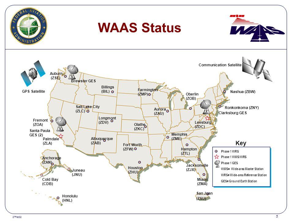 WAAS Status Key Communication Satellite Auburn (ZSE) Brewster GES
