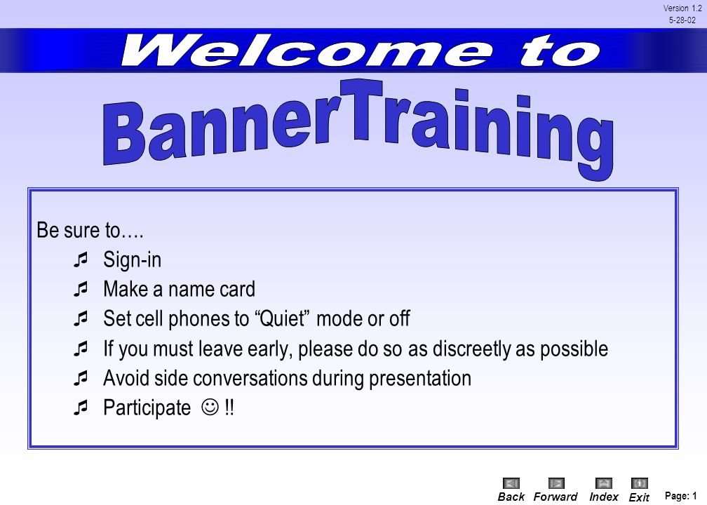 Welcome to BannerTraining.