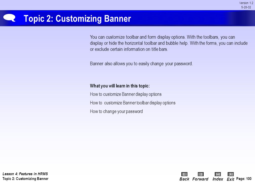 Topic 2: Customizing Banner