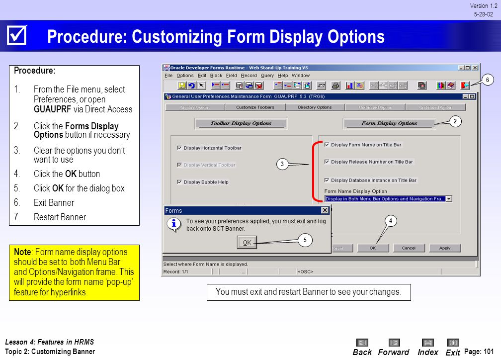 Procedure: Customizing Form Display Options