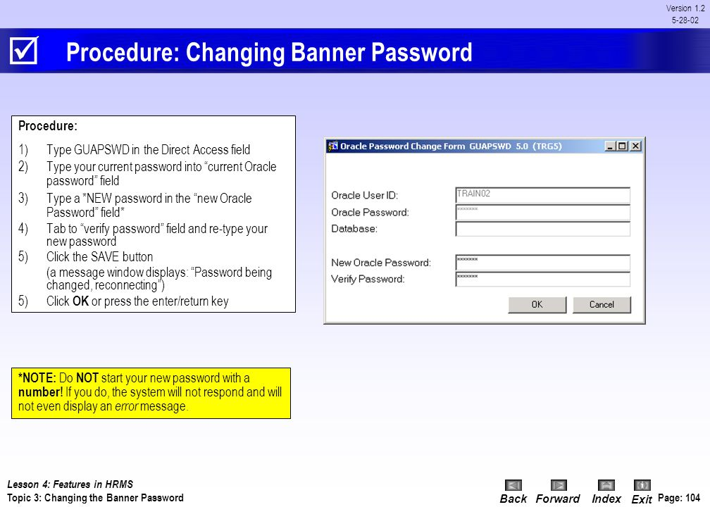 Procedure: Changing Banner Password