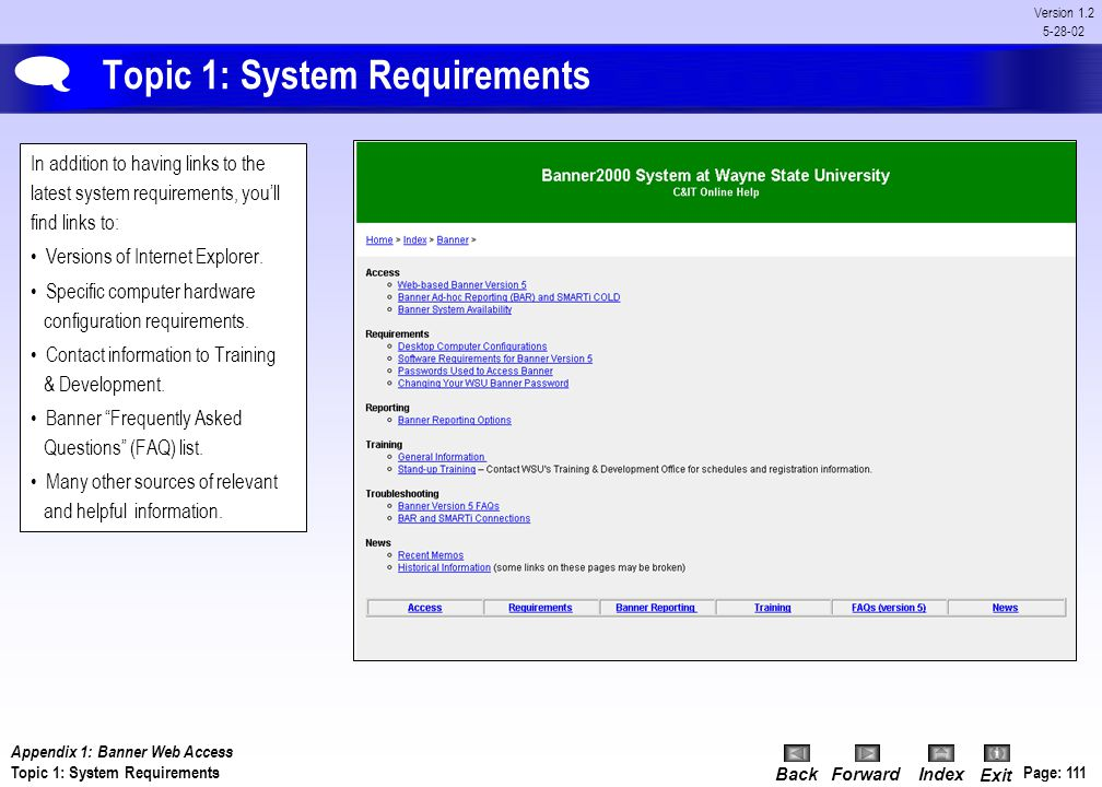 Topic 1: System Requirements