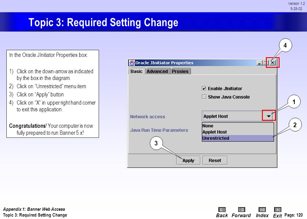 Topic 3: Required Setting Change
