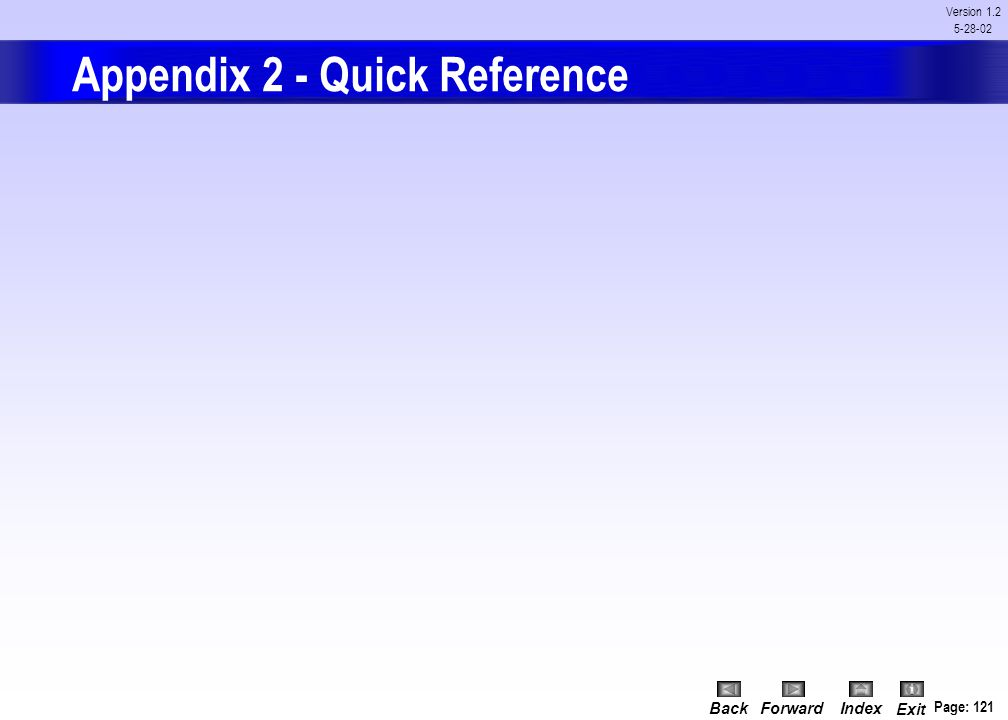 Appendix 2 - Quick Reference