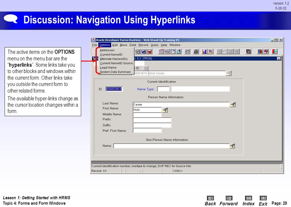 Discussion: Navigation Using Hyperlinks