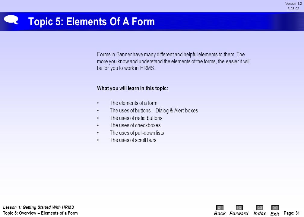 Topic 5: Elements Of A Form