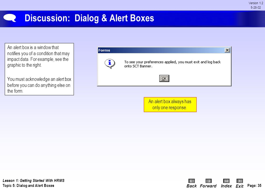 Discussion: Dialog & Alert Boxes