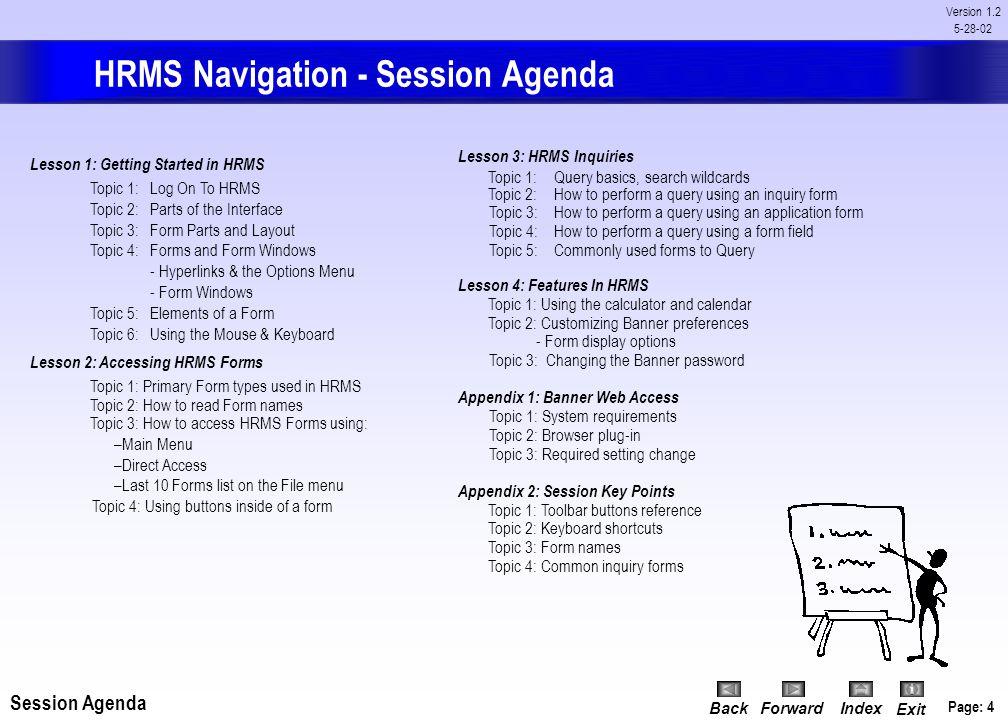 HRMS Navigation - Session Agenda