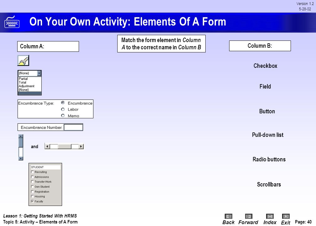 On Your Own Activity: Elements Of A Form