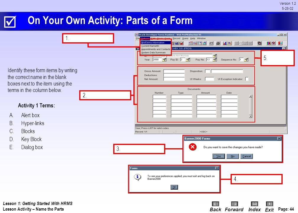 On Your Own Activity: Parts of a Form
