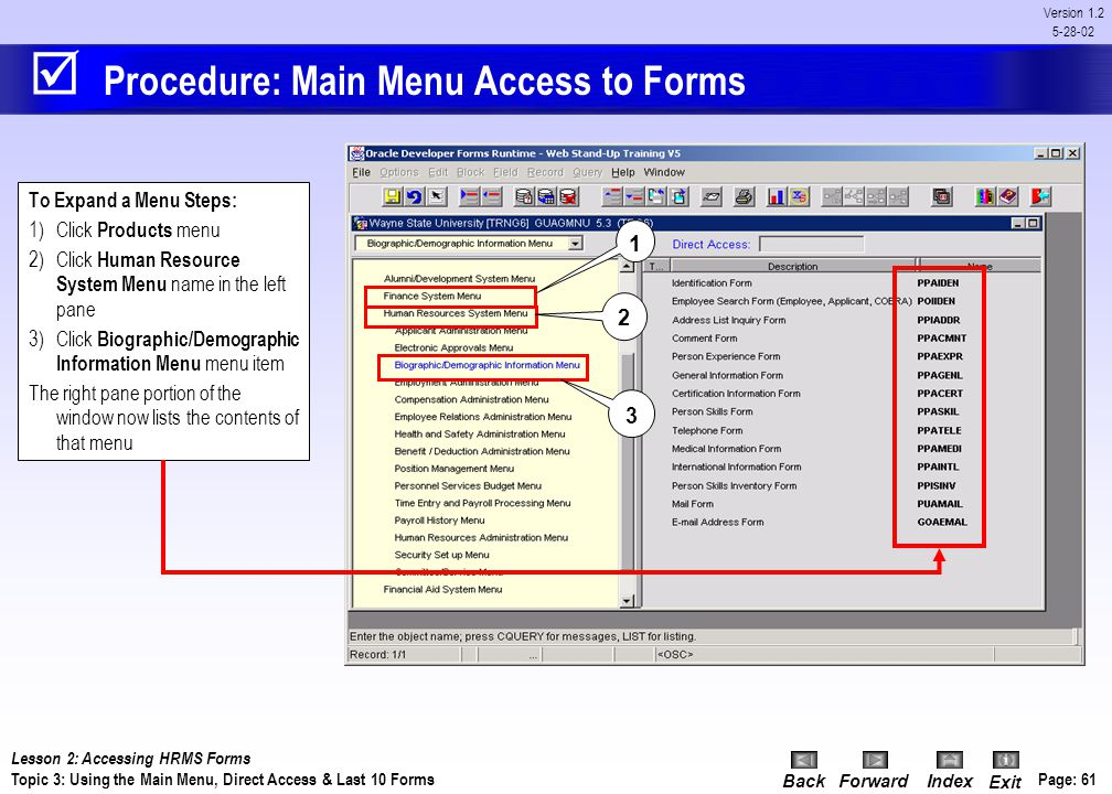 Procedure: Main Menu Access to Forms