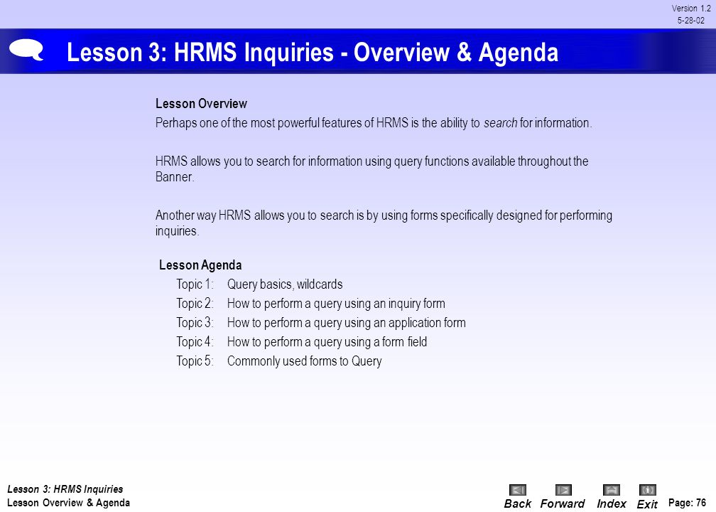 Lesson 3: HRMS Inquiries - Overview & Agenda
