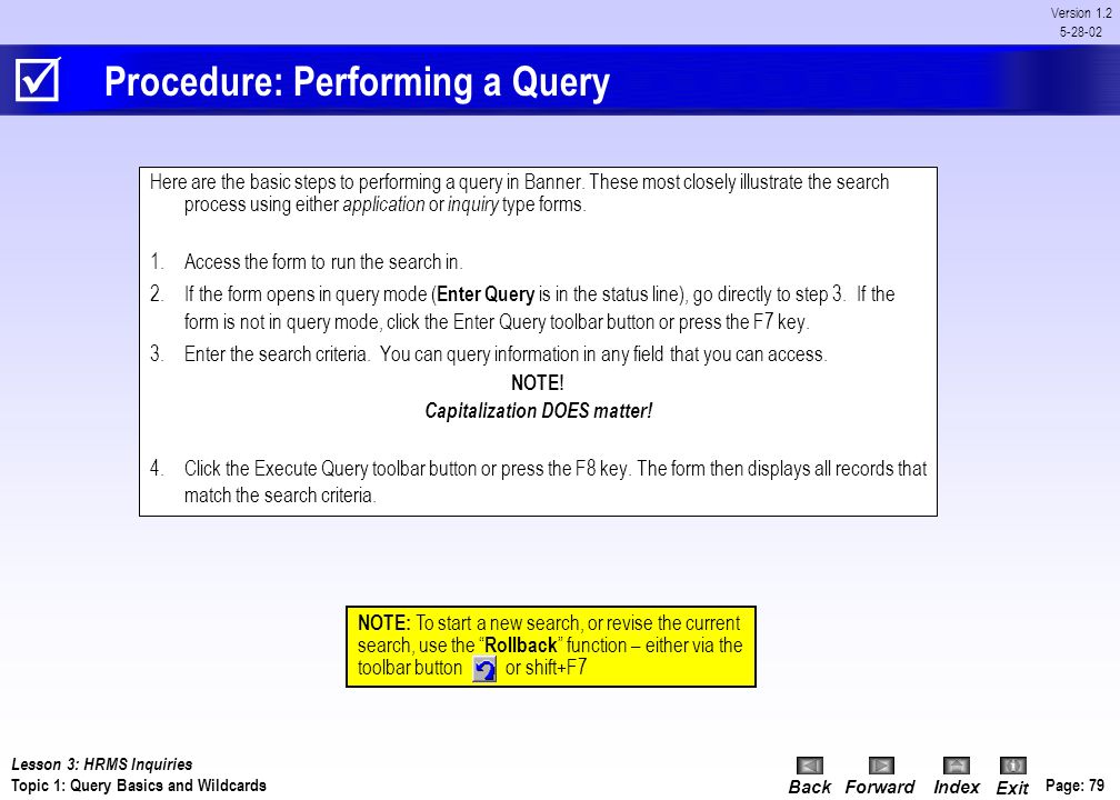 Procedure: Performing a Query