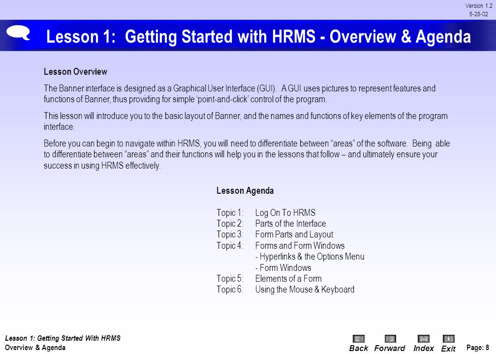 Lesson 1: Getting Started with HRMS - Overview & Agenda